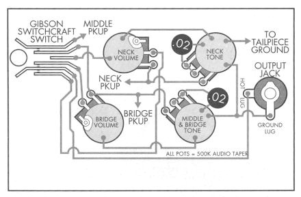 3 pickup Les Paul schematic